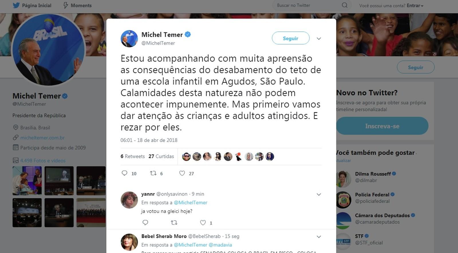 O presidente usou sua conta no Twitter para se solidarizar com as vítimas