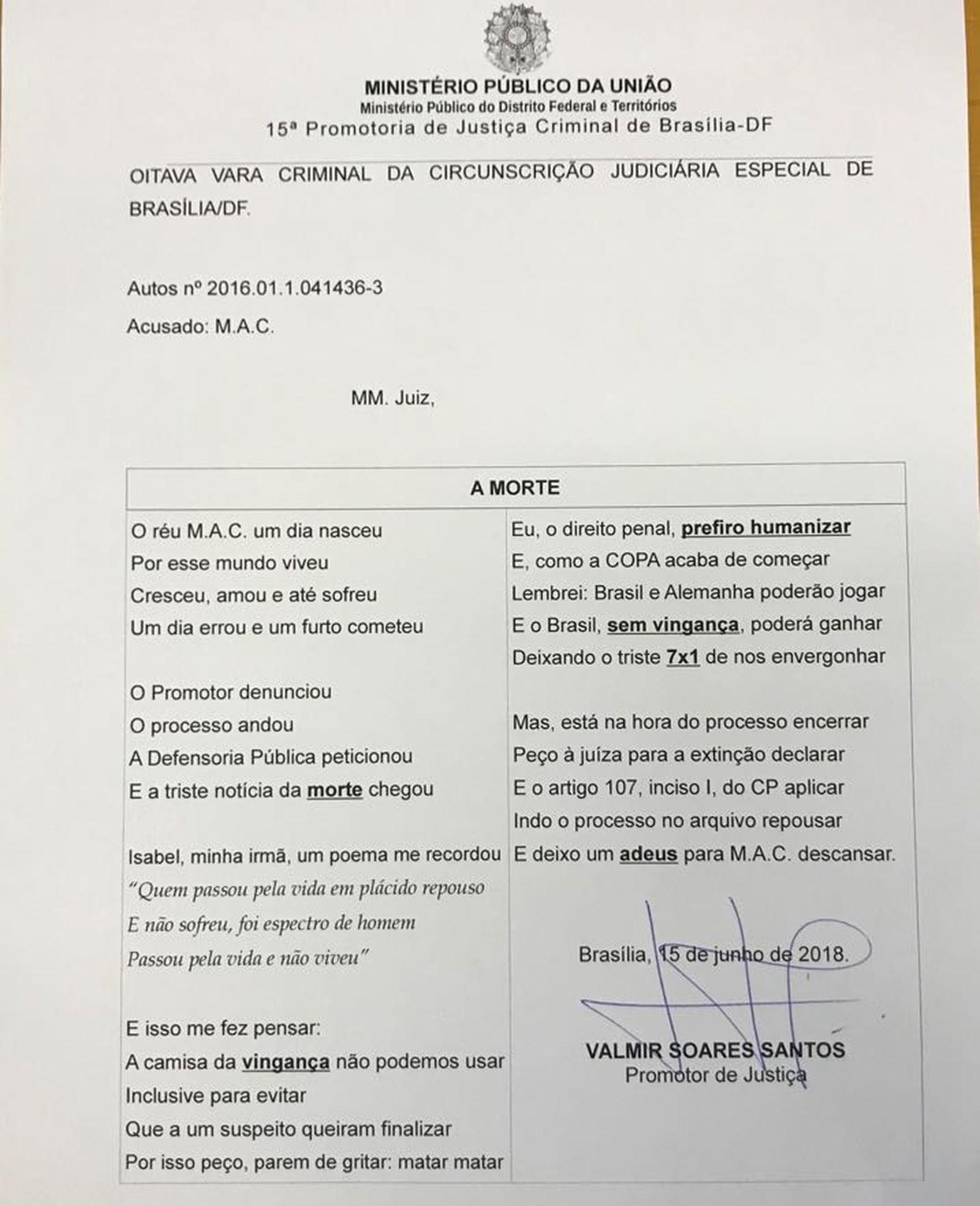 Promotor Faz Poema Para Convencer Justiça Do Df A Arquivar Processo